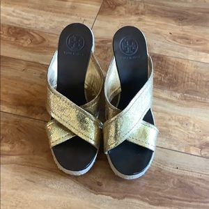Tory Burch gold espadrille wedges